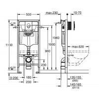 Инсталляция Grohe Rapid SL Set 3 в 1 для подвесного унитаза (38721001)