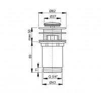 Донный клапан Alcaplast A391 для умывальника click/clack 5/4, цельнометаллический