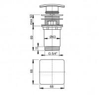 Донный клапан Alcaplast A393 для умывальника click/clack 5/4, цельнометаллический