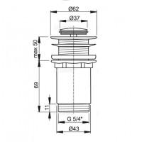 Донный клапан Alcaplast A394 для умывальника click/clack 5/4, цельнометаллический