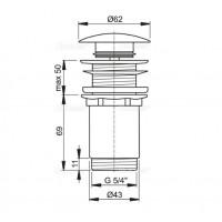 Донный клапан Alcaplast A395 для умывальника click/clack 5/4, цельнометаллический