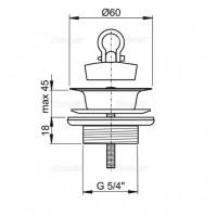 Донный клапан Alcaplast A439 для умывальника 5/4, цельнометаллический