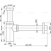 Сифон Alcaplast A400 для умывальника Ø32 DESiGN, цельнометаллический
