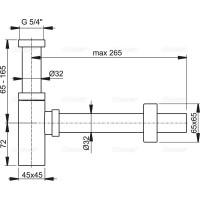 Сифон Alcaplast A401 для умывальника Ø32 DESiGN, цельнометаллический