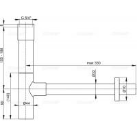 Сифон Alcaplast A402 для умывальника Ø32 DESiGN, цельнометаллический