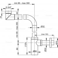 Сифон Alcaplast A403 для умывальника Ø32 DESiGN, цельнометаллический