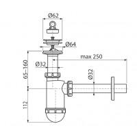 Сифон Alcaplast A410 для умывальника Ø32 с нержавеющей peшiткою Ø63