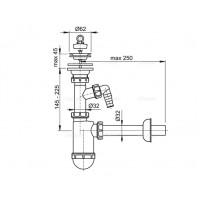 Сифон Alcaplast A410P для умывальника Ø32 с подведением и нержавеющей peшiткою Ø63