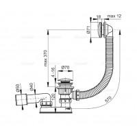 Сифон Alcaplast A504KM для ванны click/clack металл