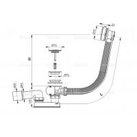 Сифон Alcaplast A551KM для ванны автомат комплект металл
