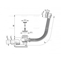 Сифон Alcaplast A55K для ванны автомат комплект металл