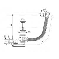 Сифон Alcaplast A55KM для ванны автомат комплект металл
