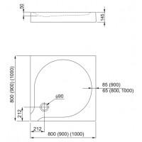 Душевой поддон Aquaform DELTA 80 с интегрированной панелью (201-06910)