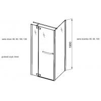 Боковая стенка  Aquaform HD COLLECTiON 80 прозрачное стекло (103-09377)