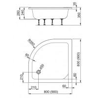 душевой поддон Aquaform PLUS 550  80 глубокий без сидения (200-18612)