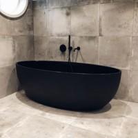 Ванна акриловая Besco Goya Black 160x70 + сифон click clack