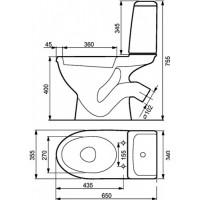 Унитаз-компакт Сersanit Koral 031 с сиденьем из полипропилена