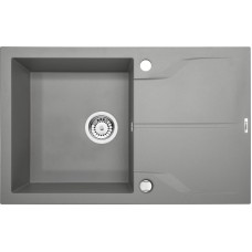 Гранитная кухонная мойка 1 чаша с крылом для сушения Deante Andante серый металiк (ZQN S113)