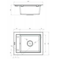 Гранитная кухонная мойка 1 чаша без крыла для сушки Deante Country графитовый (ZQU 211A)