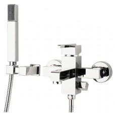 Комплект для ванны смеситель+воронка+шланг+держатель Deante Cubic хром (BDD 011M)