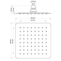 Воронка для верхнего душа квадратная Deante Floks 200 сталь (NAC 005K)