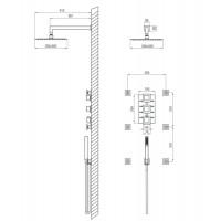 Душевая панель скрытого монтажа с термостатическим смесителем Deante Multi-System хром (NAC 090T)