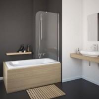 Шторка на ванну Eger 80x150 прозрачное стекло (599-02/R)