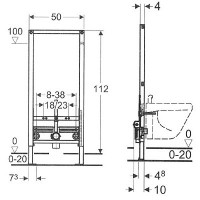 Инсталляция Geberit Duofix для биде, высота 112 см (111.520.00.1)