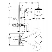 Душевая система Grohe Euphoria System 180 с термостатом для ванны (27475000)