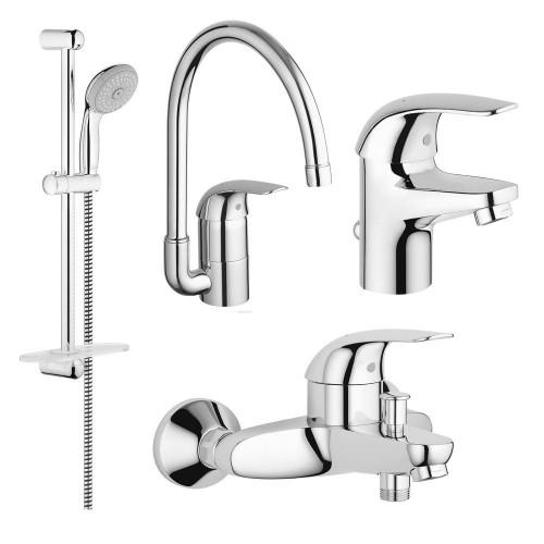 Набор смесителей для кухни и ванной Grohe Euroeco 123242K (23262000+32743000+27598001+32752000)