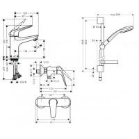 Набор смесителей для душа Hansgrohe Novus 100 3в1 (710362773)