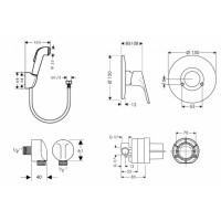 Набор Hansgrohe Porter гигиеничный душ+смеситель скрытого монтажа (32127111)