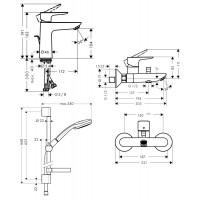 Набор смесителей для ванны Hansgrohe Talis E 3в1 (71710000+27772000+71740000)