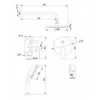 Комплект imprese Jesenik смеситель скрытого монтажа с верхним душем и воронкой (VR-15140)