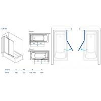 Штора для ванны Koller Pool 115x140 Grape матовое/левая QP95