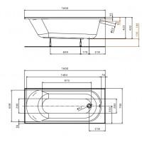 Ванна Kolo Opal Plus 160x70 без ножек (XWP136000N)