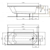 Ванна Kolo Opal Plus 170x70 без ножек (XWP137000N)