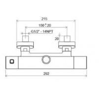 Душевая штанга Ravak 10° с термостатическим смесителем и душевим набором TD 091.00/150 (X070103)