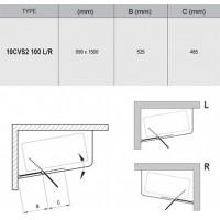 Штора для ванны Ravak 10CVS2-100 L полiр. алюм./Transparent (7QLA0C03Z1)