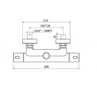 Душевая штанга Ravak Termo 300 с термостатическим смесителем, регулированный TE 093.00/150 (X070099)