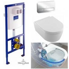 Комплект Унитаз подвесной Villeroy & Boch AVENTO Direct Flush с крышкой soft-close+Viconnect инсталляция+кнопка E200 (92246100+92249061+5656HR01)