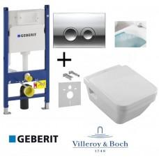 Комплект Унитаз подвесной Villeroy & Boch Omnia Architectura с крышкой soft-close+Geberit Duofix+ кнопка Delta 21 (458.121.21.1.N+5685HR01)