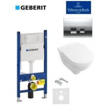 Комплект унитаз подвесной Villeroy & Boch O.NOVO Direct Flush с крышкой + GEBERiT 4 в-1 кнопка Delta50(458.168.21.1+5688HR01)