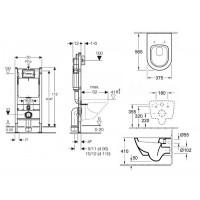 Комплект Унитаз подвесной Villeroy & Boch SUBWAY 2.0 с крышкой soft-close+GEBERiT в- 1 (458.121.21.1.N+56001+9M68)