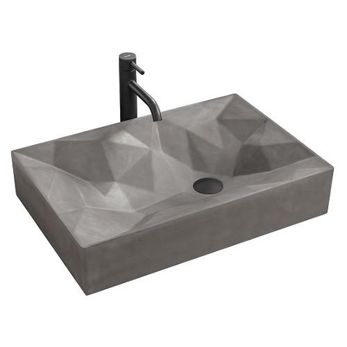 Умывальник Rea Rock 60x40 см Grey Mat, материал Konglomerat (REA-U7905)