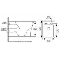 Унитаз подвесной Volle LEON Rimless с сиденьем Slim Soft Close (13-11-160)