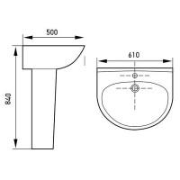 Раковина с пьедесталом Volle FIESTA 61x50x84 см (13-77-035)