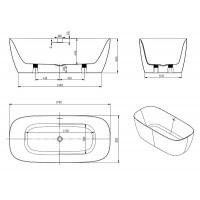 Ванна матовая акриловая Volle 1700x800x585 мм с сифоном, 12-22-808M